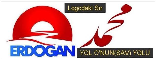 Το λογότυπο της προεκλογικής Erdoğan δίπλα από την αραβική γραφή του ονόματος του Μωάμεθ
