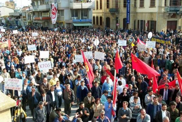 Από κινητοποιήσεις διαμαρτυρίας στην Τουρκοκυπριακή κοινότητα το 2000 ενάντια στην οικονομική πολιτική της Άγκυρας