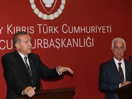 Δημοσιογραφική διάσκεψη Erdoğan-Eroğlu την 1η Σεπτεμβρίου 2014 στη κατεχόμενη Λευκωσία