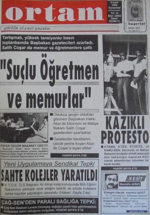 Το πρωτοσέλιδο της εφημερίδας Ortam στις 9 Σεπτεμβρίου 1995. Κάτω δεξιά υπάρχει μια μικρή εισαγωγή του άρθρου του Mustafa Akıncı
